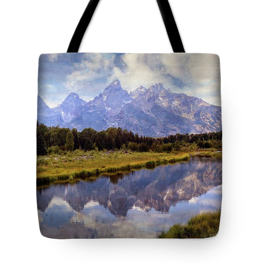 Grand Teton National Park Tote Bag featuring the photograph Tetons At The Landing 1 by Marty Koch