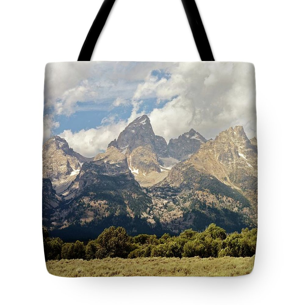 Grand Teton National Park Tote Bag featuring the photograph Tetons Grande 2 by Marty Koch