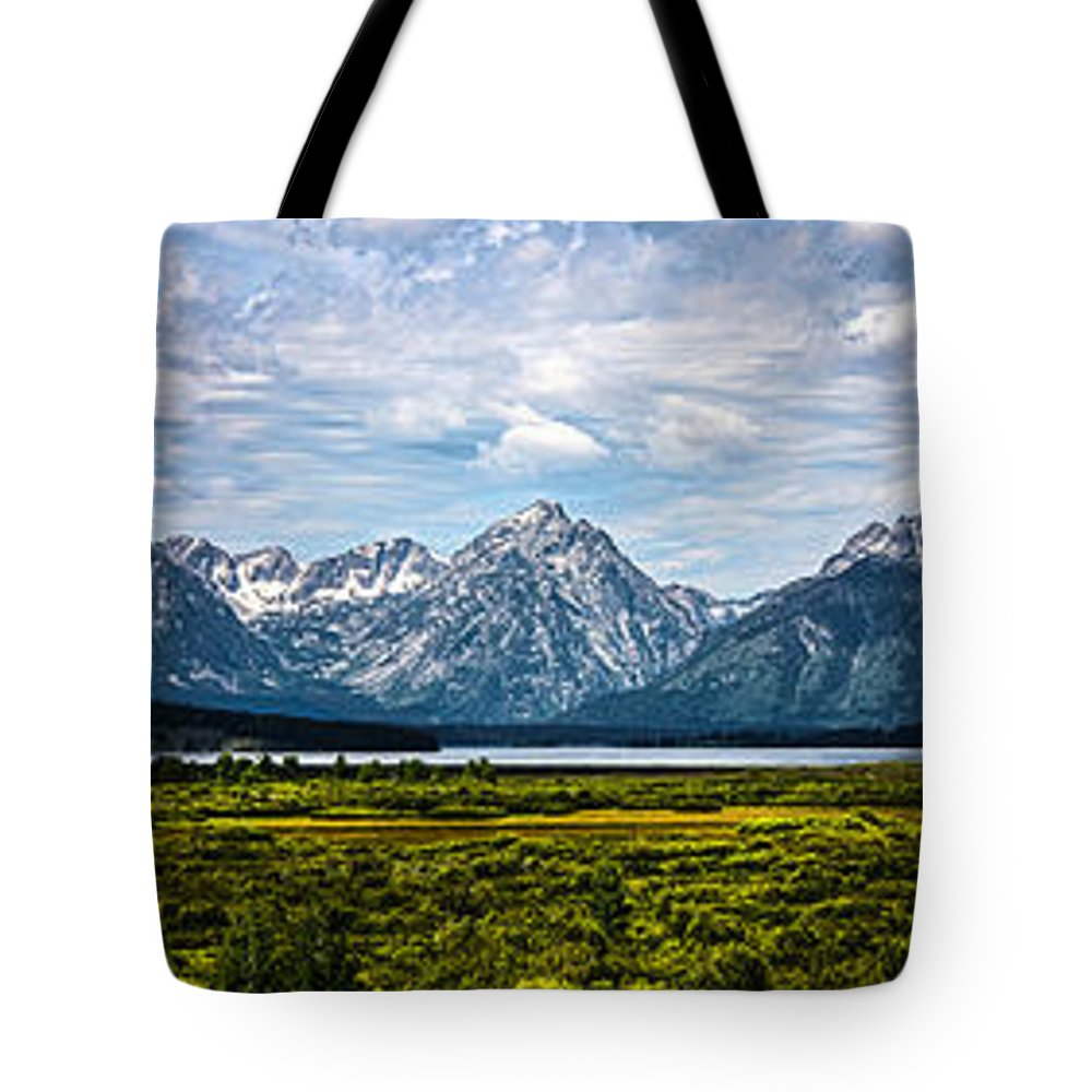 The Grand Tetons Tote Bag featuring the photograph Tetons - Panorama by Shane Bechler