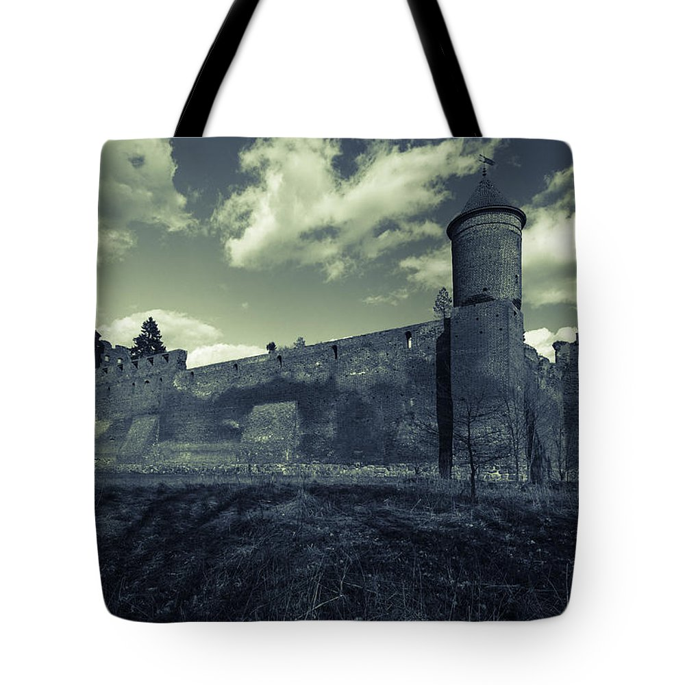 Poland Tote Bag featuring the photograph Teutonic Castle In Szymbark In Monochrome by Julis Simo