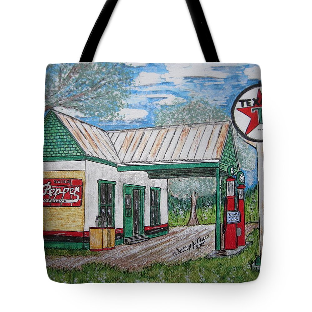 Nostalgia Tote Bag featuring the painting Texaco Gas Station by Kathy Marrs Chandler