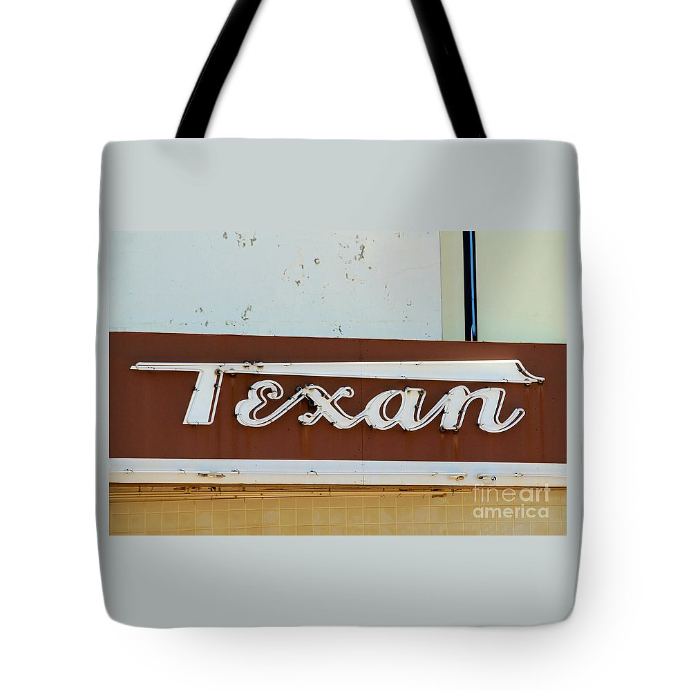 Texan Tote Bag featuring the photograph Texan Movie Theater Sign by Catherine Sherman