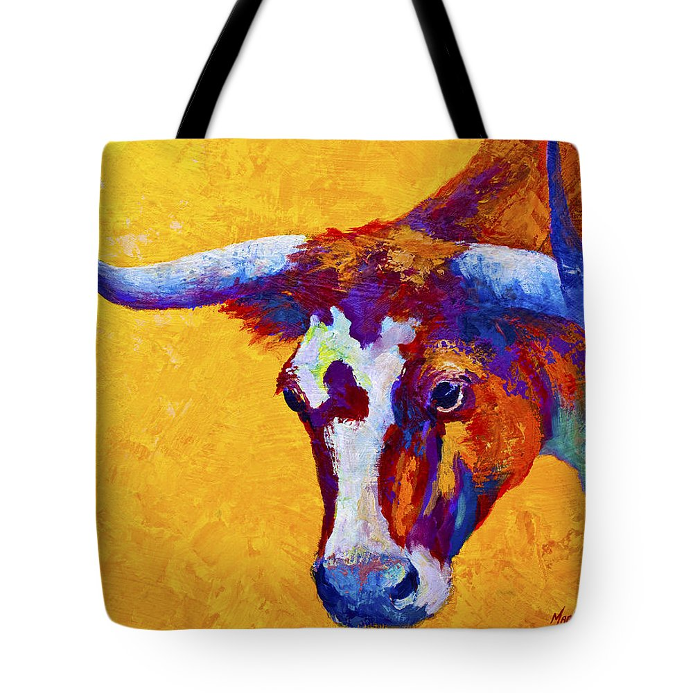 Longhorn Tote Bag featuring the painting Texas Longhorn Cow Study by Marion Rose