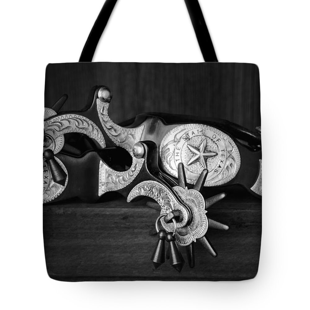 Boot Spurs Tote Bag featuring the photograph Texas Spurs by Tom Mc Nemar