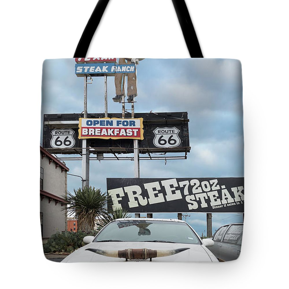 Amarillo Tote Bag featuring the photograph Texas Steak House Kitsch by Gary Warnimont