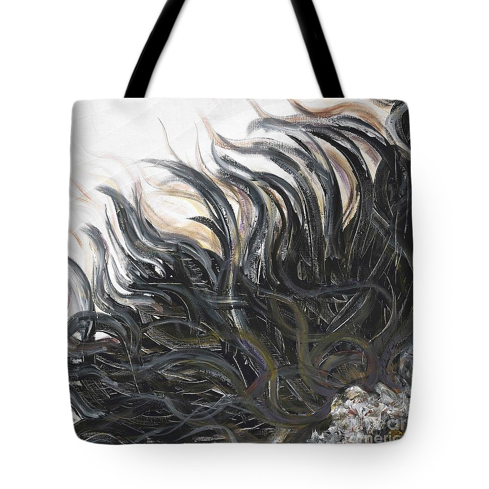 Texture Tote Bag featuring the painting Textured Black Sunflower by Nadine Rippelmeyer