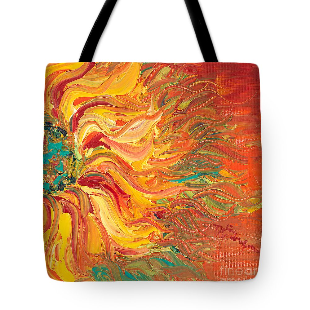 Sunjflower Tote Bag featuring the painting Textured Fire Sunflower by Nadine Rippelmeyer