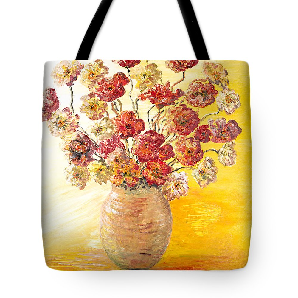 Flowers Tote Bag featuring the painting Textured Flowers In A Vase by Nadine Rippelmeyer
