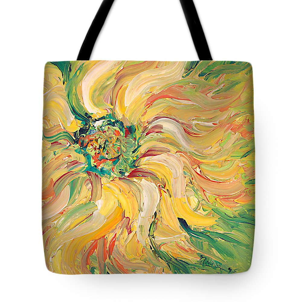 Texture Tote Bag featuring the painting Textured Green Sunflower by Nadine Rippelmeyer