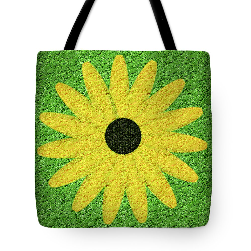 Flower Tote Bag featuring the digital art Textured Yellow Daisy by Smilin Eyes Treasures