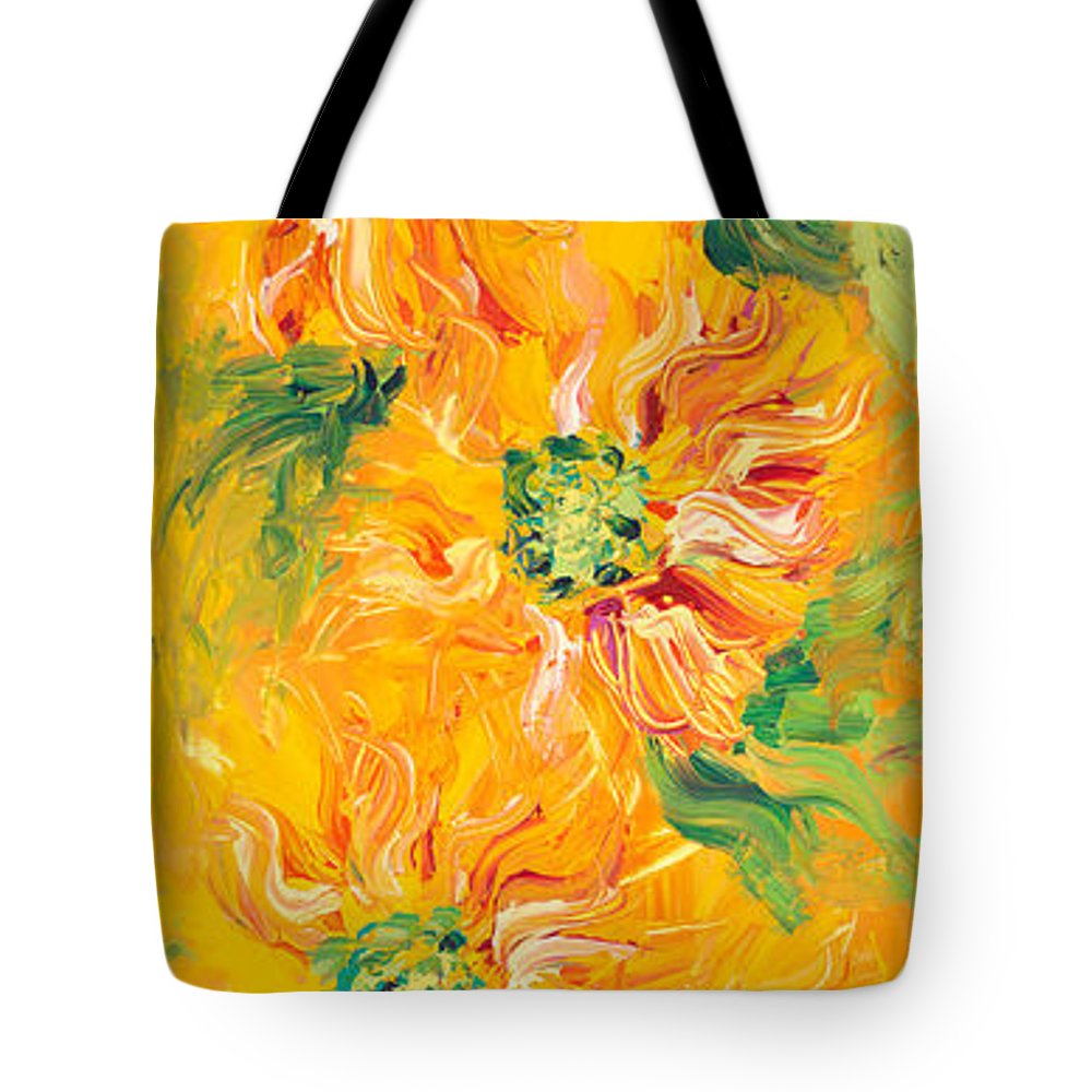 Yellow Tote Bag featuring the painting Textured Yellow Sunflowers by Nadine Rippelmeyer