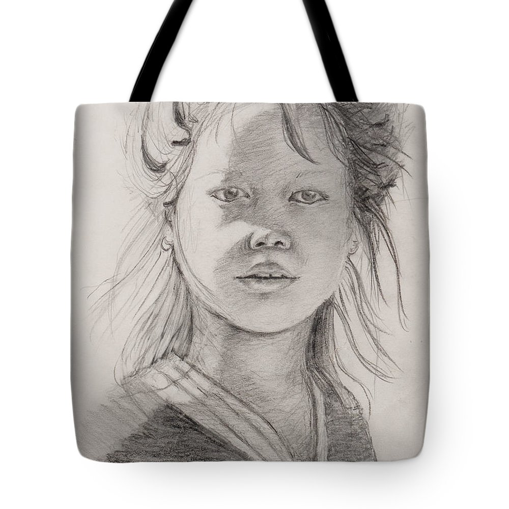Portrait Tote Bag featuring the drawing Thai Beauty by Nadine Rippelmeyer