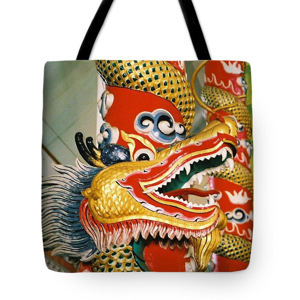 Animal Tote Bag featuring the photograph Thai Dragon by Mary Rogers