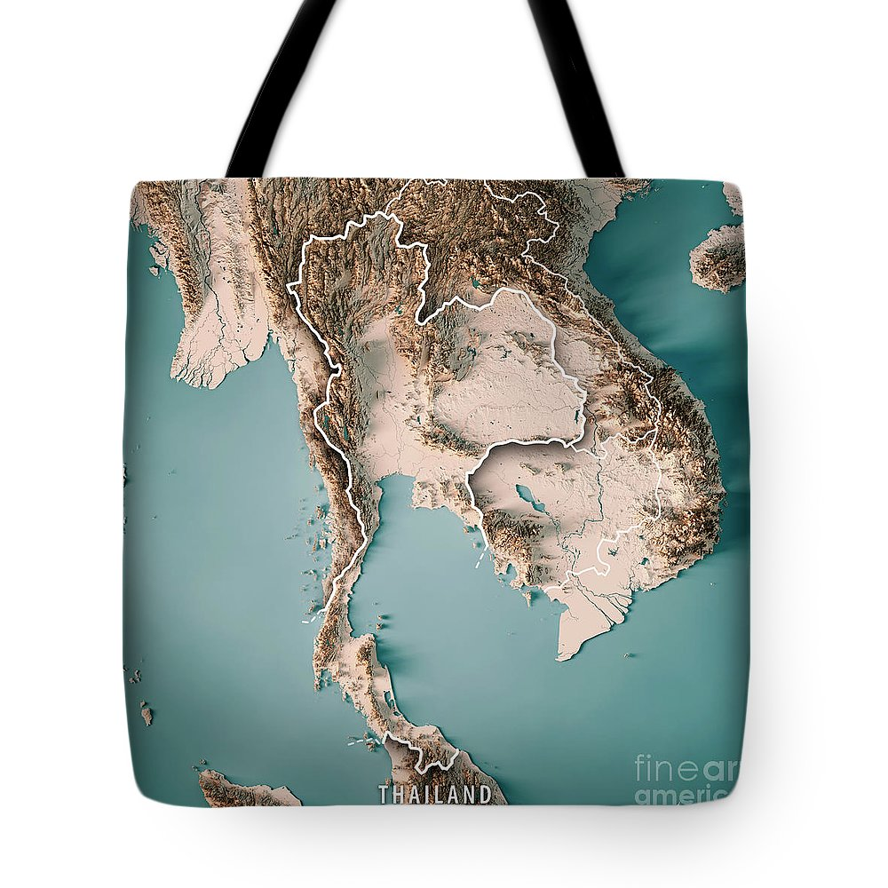 Thailand Topographic Map.Thailand 3d Render Topographic Map Neutral Border Tote Bag For Sale