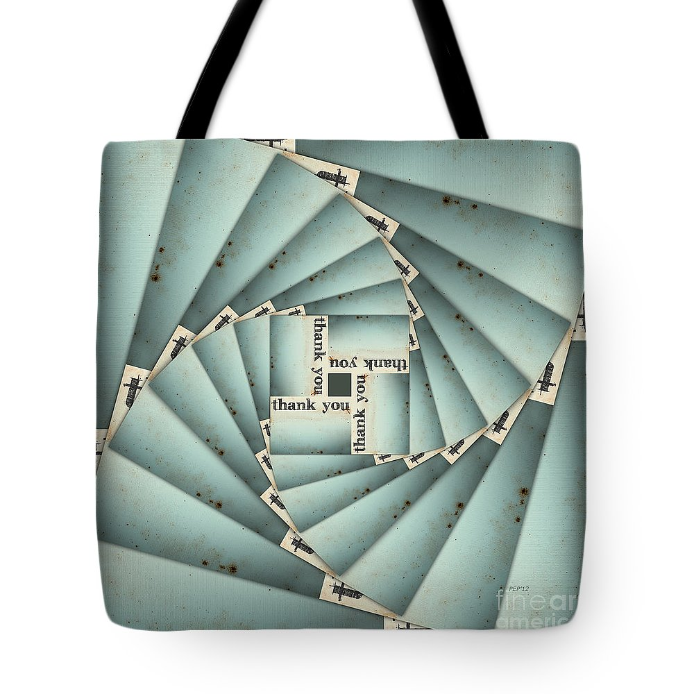 Graphic Design Tote Bag featuring the digital art Thank You 28 Times by Phil Perkins