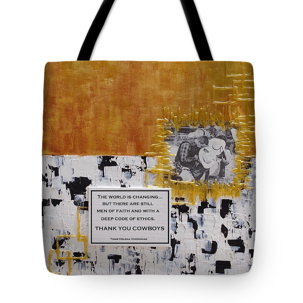 Cowboys Tote Bag featuring the painting Thank You Cowboys by Thais Helena Ouzounian