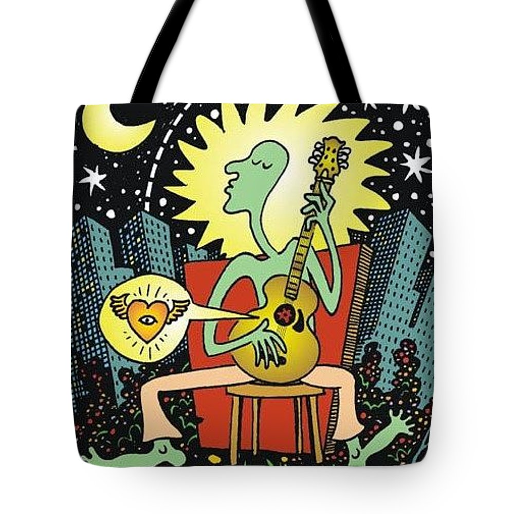 Abstract Tote Bag featuring the drawing Thank You by Larry Carey