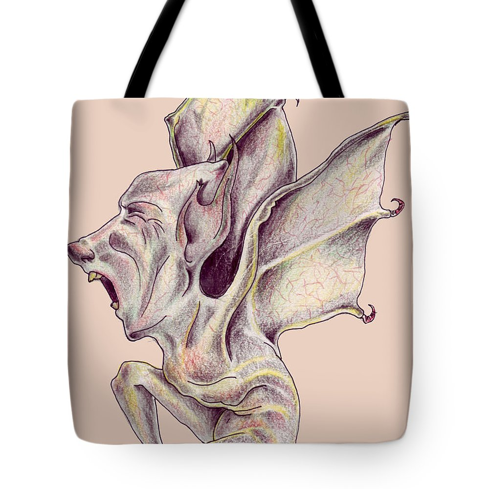 Bat Rat Man Drawings Color Pencil Tote Bag featuring the drawing That Bat Man Rat by Veronica Jackson