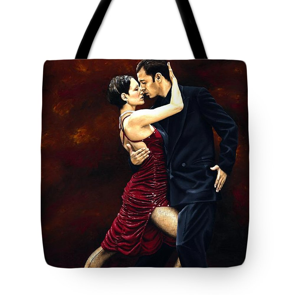 Tango Tote Bag featuring the painting That Tango Moment by Richard Young