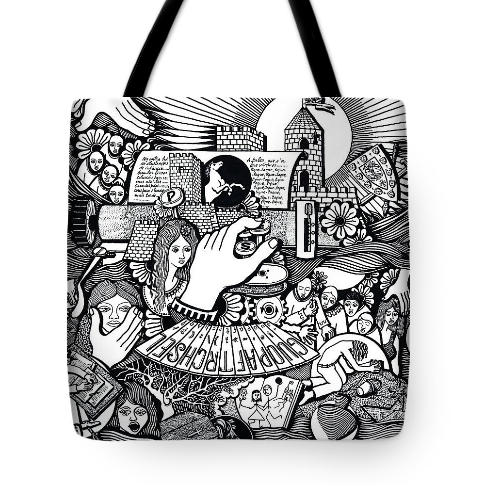 Drawing Tote Bag featuring the drawing That We Die Is What Living Means by Jose Alberto Gomes Pereira