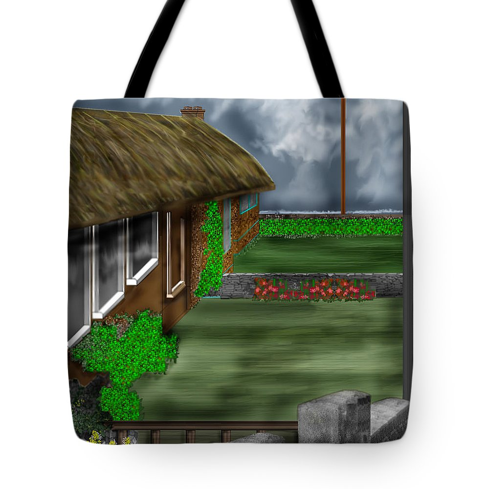 Cottages Tote Bag featuring the painting Thatched Roof Cottages In Ireland by Anne Norskog
