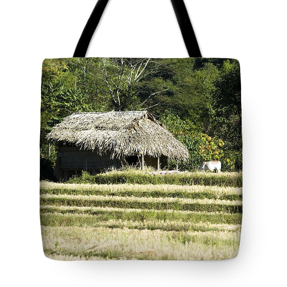 Agriculture Tote Bag featuring the photograph Thatched Shelter by Bill Brennan - Printscapes