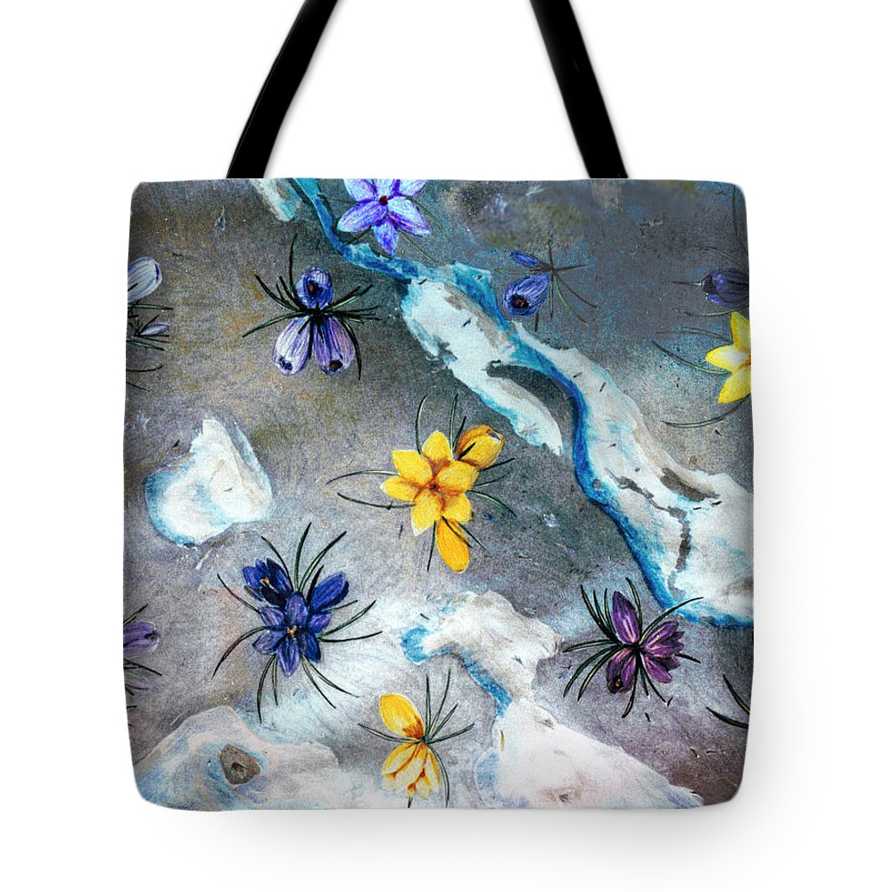 Spring Tote Bag featuring the drawing Thaw by Steve Karol