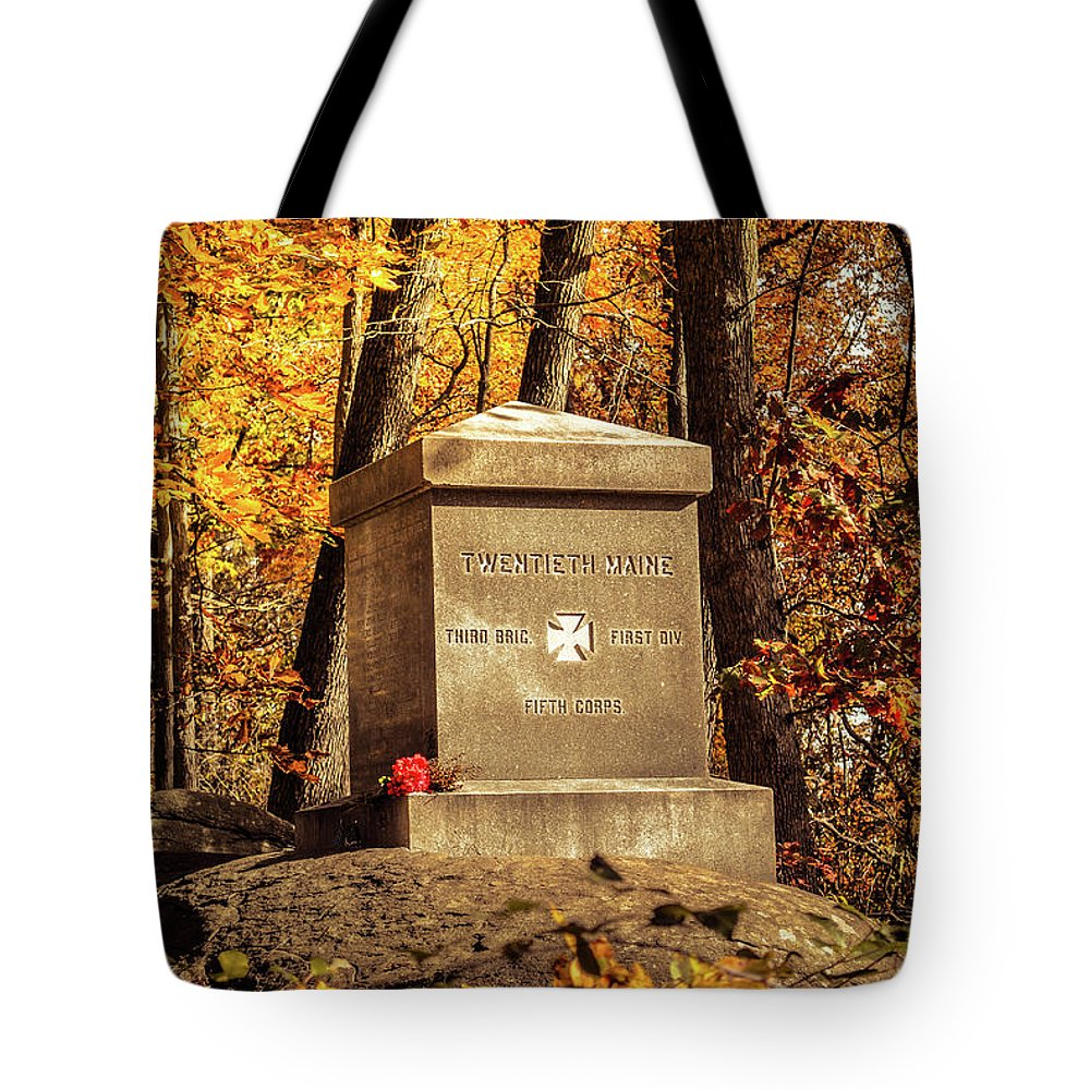 Civil War Tote Bag featuring the photograph The 20th Maine by Jen Goellnitz