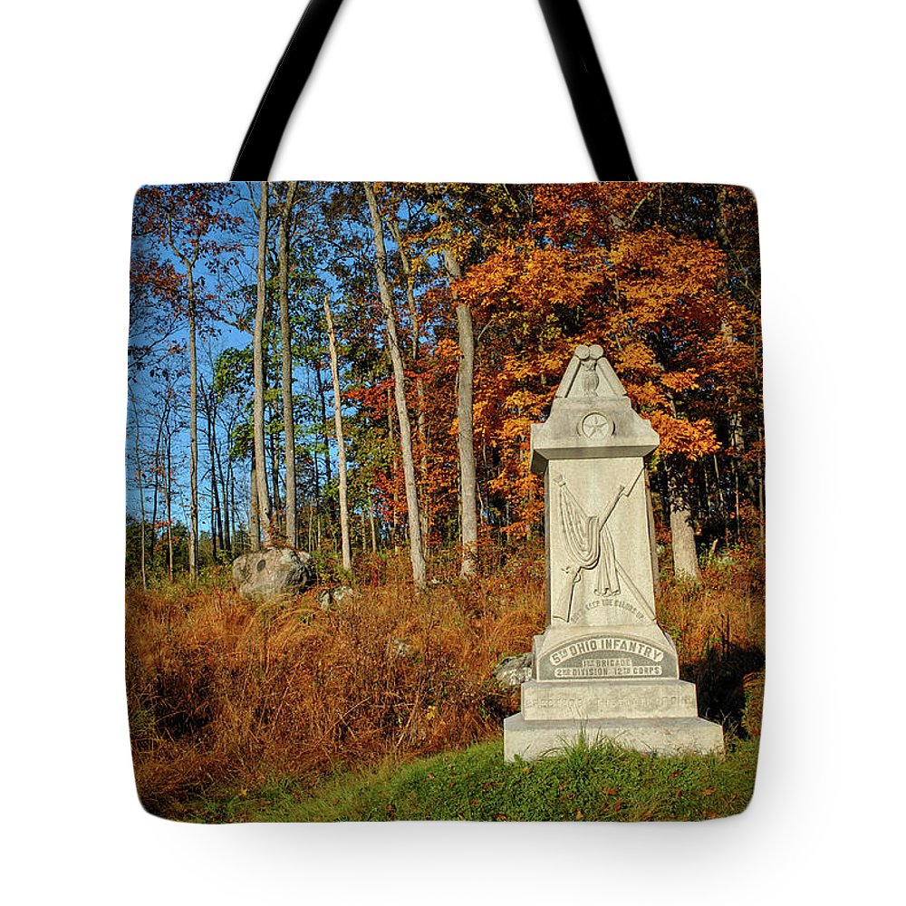 Civil War Tote Bag featuring the photograph The 5th Ohio by Jen Goellnitz