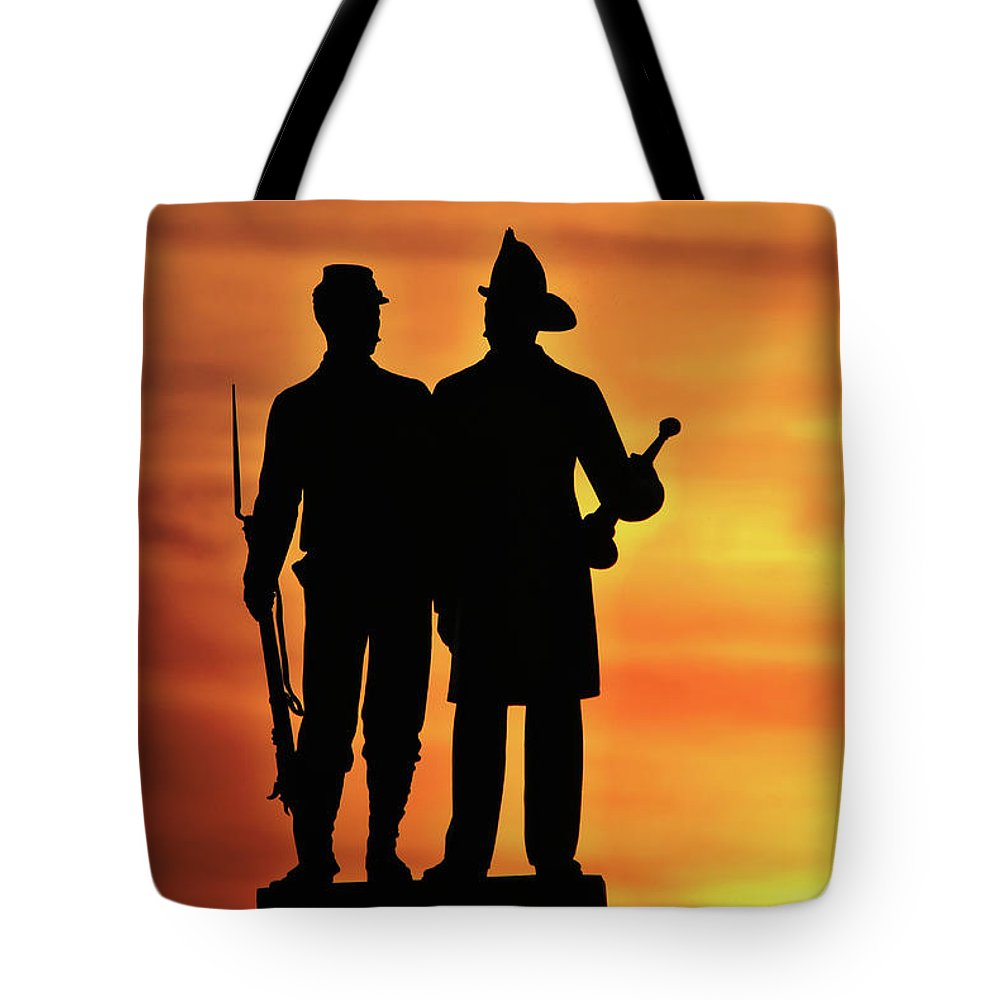 Civil War Tote Bag featuring the photograph The 73rd New York by Jen Goellnitz