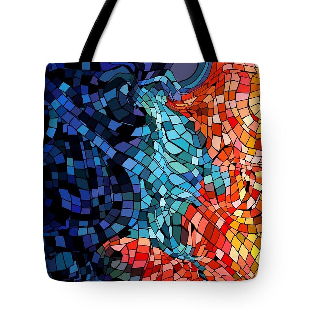 Kiss Colors Digital Abstract Tote Bag featuring the digital art The Abstract Kiss by Veronica Jackson