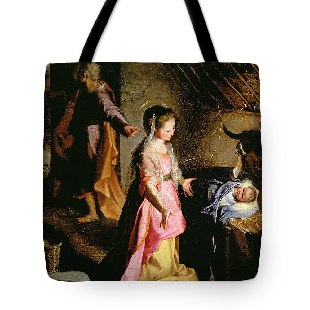 Nativity Tote Bag featuring the painting The Adoration Of The Child by Federico Fiori Barocci or Baroccio