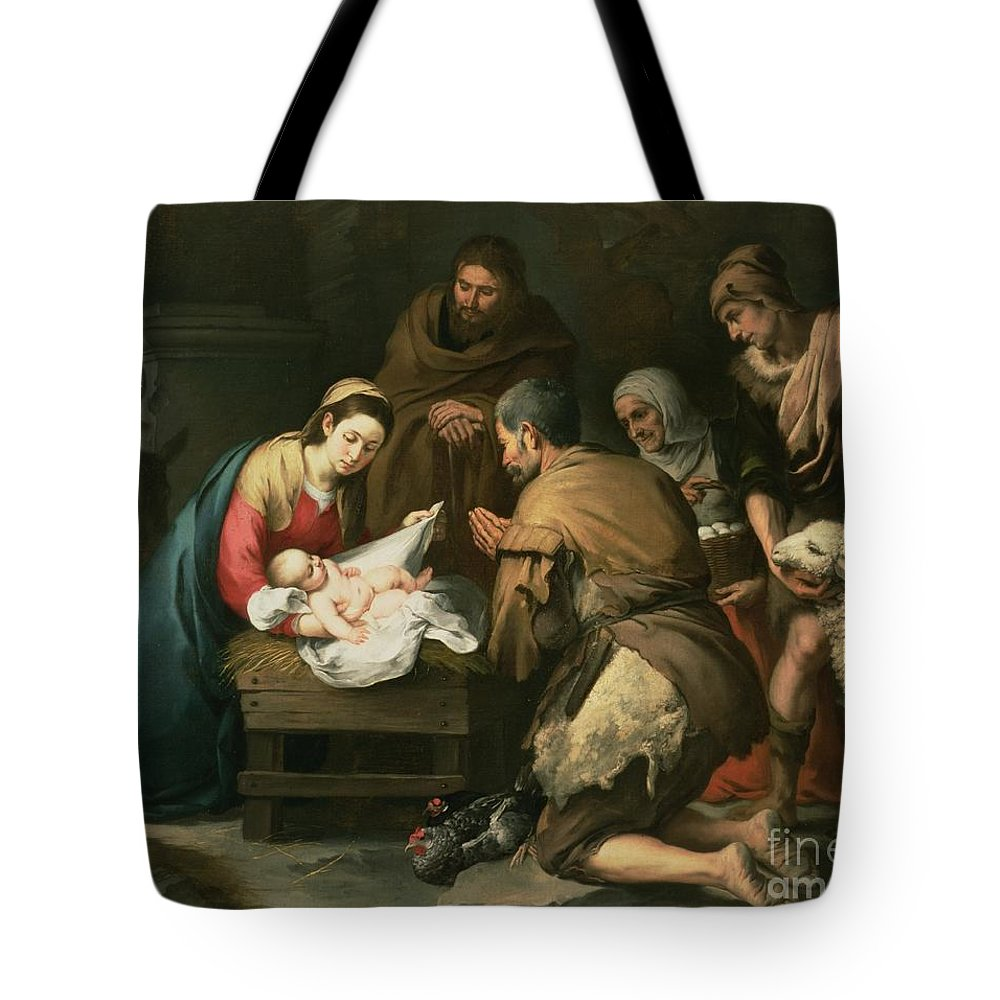 Adoration Tote Bag featuring the painting The Adoration Of The Shepherds by Bartolome Esteban Murillo