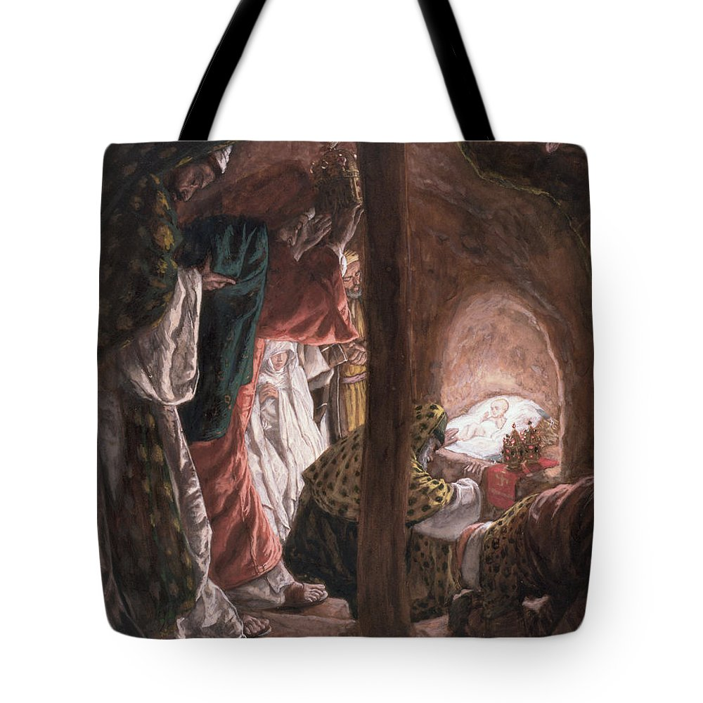 Nativity Tote Bag featuring the painting The Adoration Of The Wise Men by Tissot