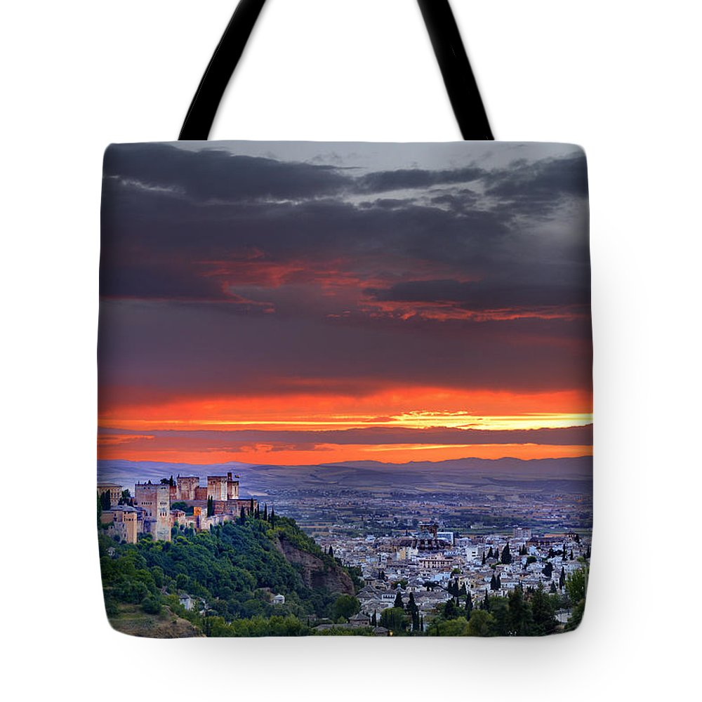 The Alhambra Tote Bag featuring the photograph The Alhambra And Granada City by Guido Montanes Castillo