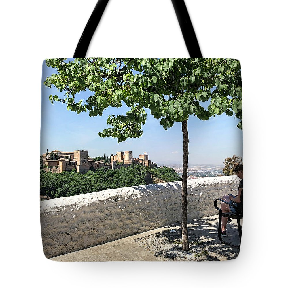 Alhambra Tote Bag featuring the photograph The Alhambra From Sacromonte by Digby Merry