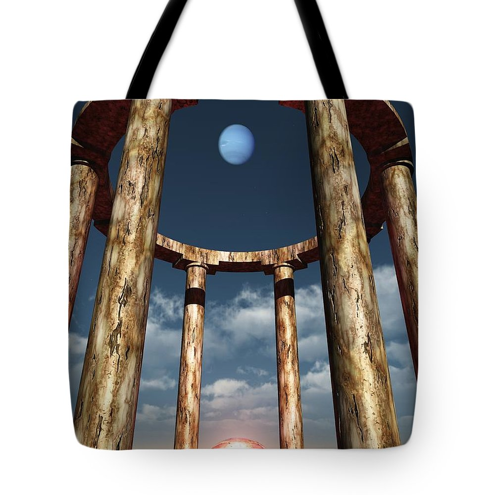 Planets Tote Bag featuring the digital art The Aligning Of Neptune by Richard Rizzo