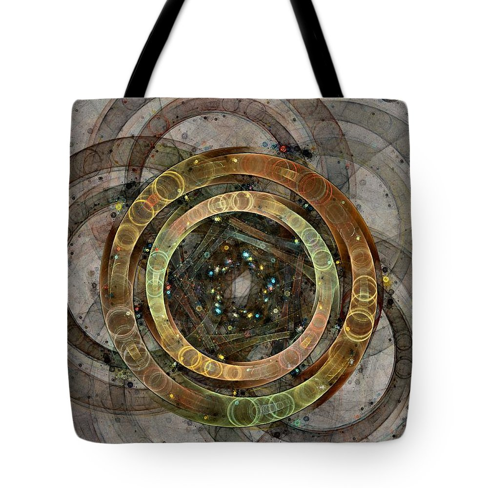 Circles Tote Bag featuring the digital art The Almagest - Homage To Ptolemy - Fractal Art by NirvanaBlues