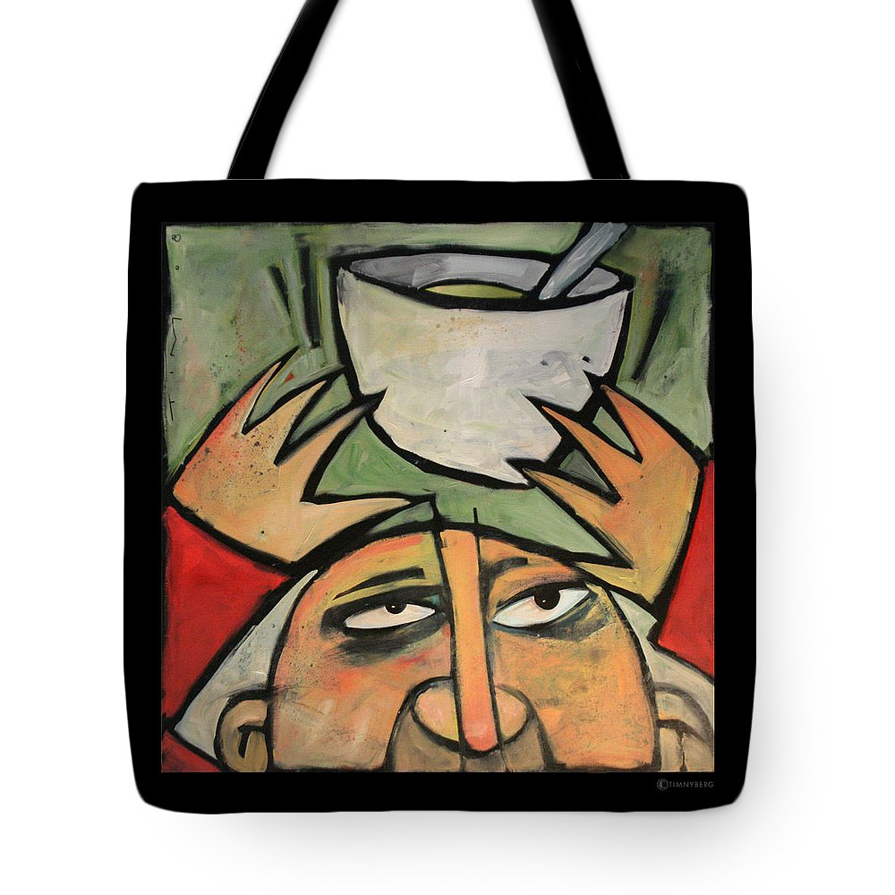 Humor Tote Bag featuring the painting The Amazing Brad Soup Juggler by Tim Nyberg
