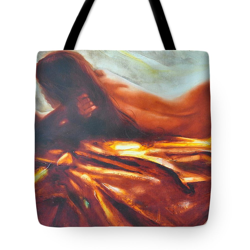 Painting Tote Bag featuring the painting The Amber Speck Of Light by Sergey Ignatenko