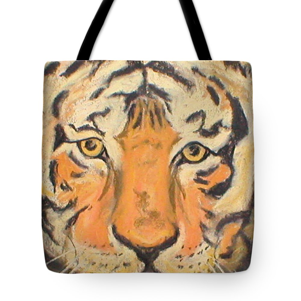 Pastel Tote Bag featuring the drawing The Amber Stare by Cori Solomon