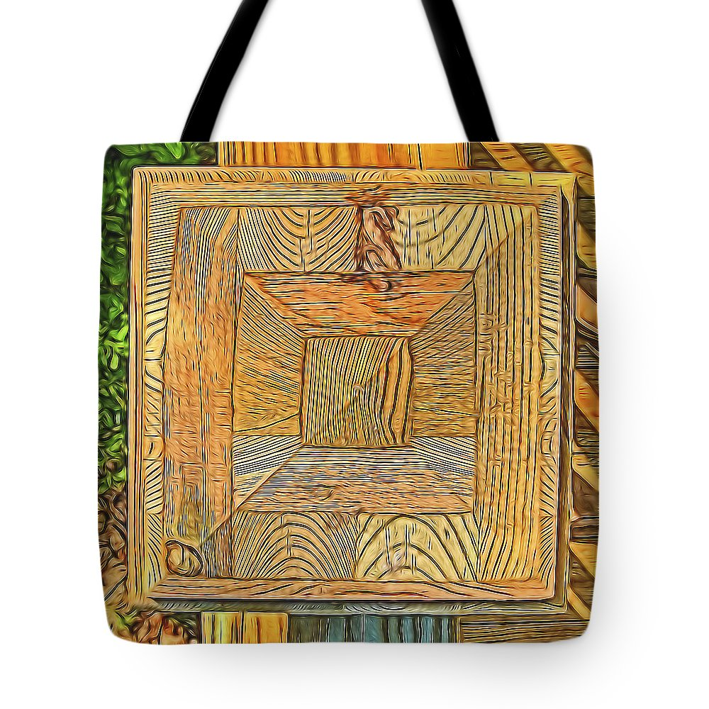 Wood Tote Bag featuring the photograph The Anatomy Of A Railing Post by Barry Monaco