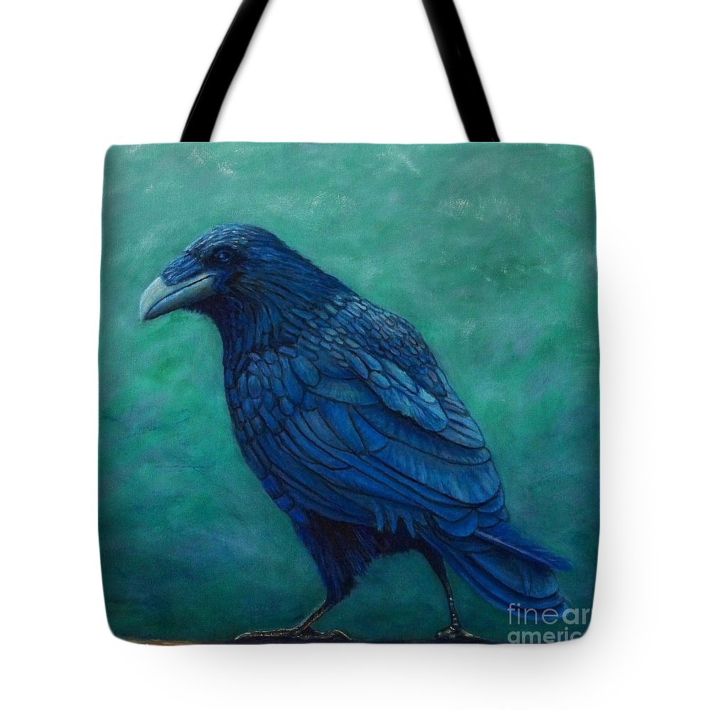 Raven Tote Bag featuring the painting The Ancient One by Brian Commerford