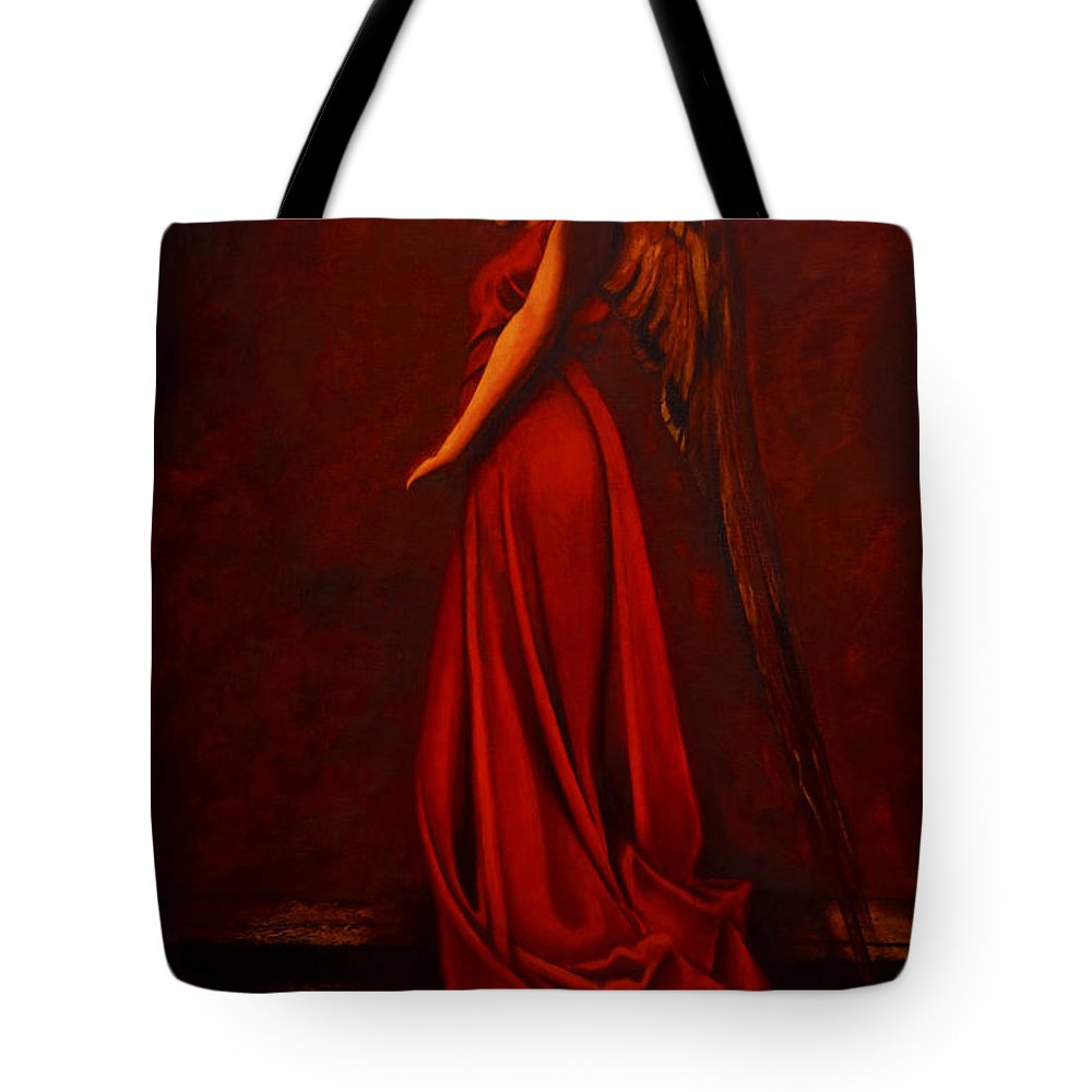 Giorgio Tote Bag featuring the painting The Angel Of Love by Giorgio Tuscani