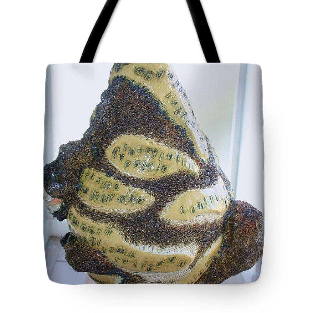 Jesus Tote Bag featuring the sculpture The Animal Cell - View One by Gloria Ssali