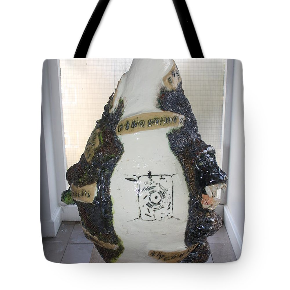 Jesus Tote Bag featuring the sculpture The Animal Cell - View Two by Gloria Ssali