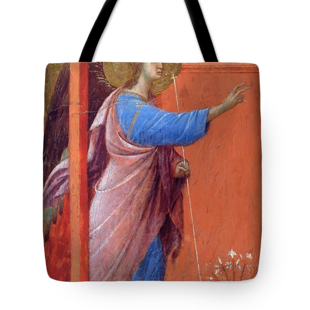 The Tote Bag featuring the painting The Annunciation Fragment 1311 by Duccio