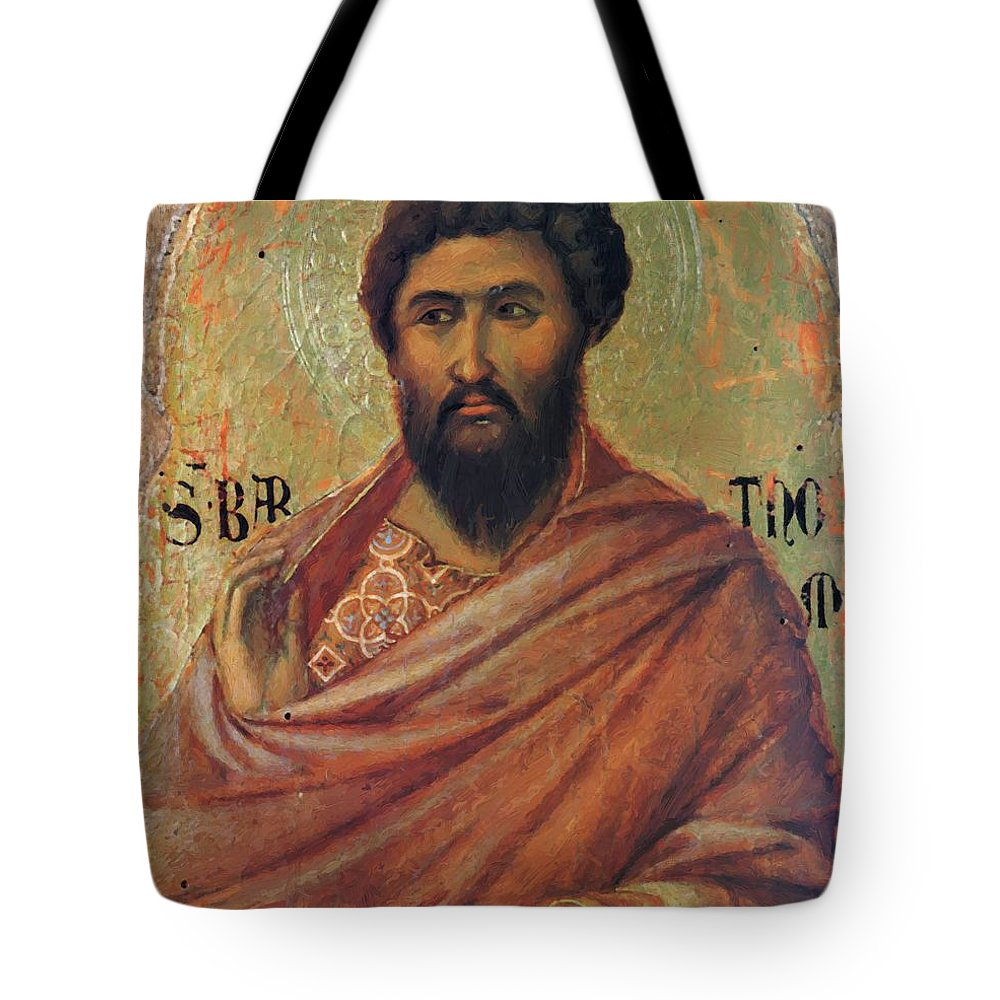 The Tote Bag featuring the painting The Apostle Bartholomew 1311 by Duccio