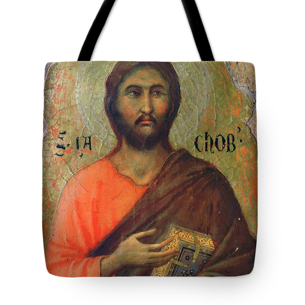 The Tote Bag featuring the painting The Apostle James Alphaeus 1311 by Duccio