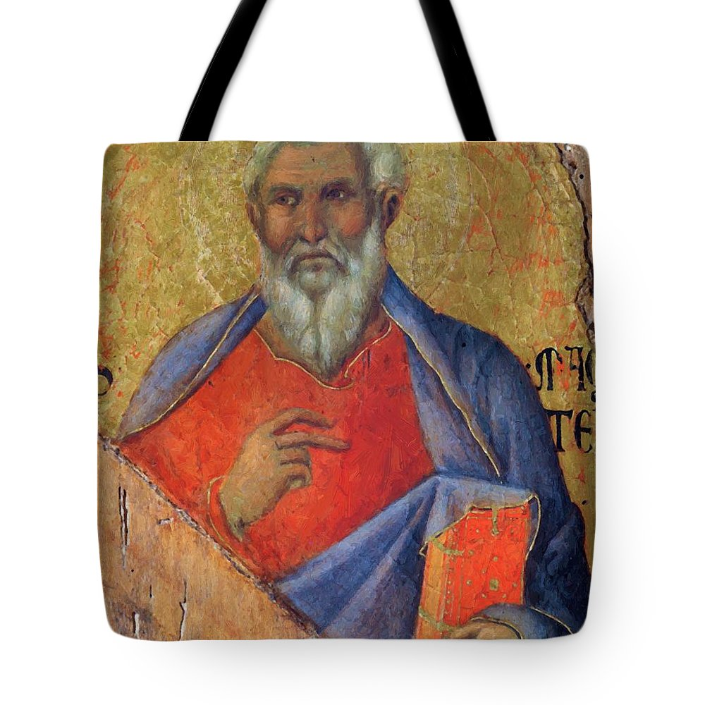 The Tote Bag featuring the painting The Apostle Matthew 1311 by Duccio